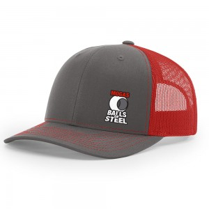 Balls of Steel Richardson Mesh Back Trucker Hat - Charcoal/Red
